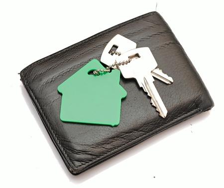 keychain: House shaped keychain on leather purse