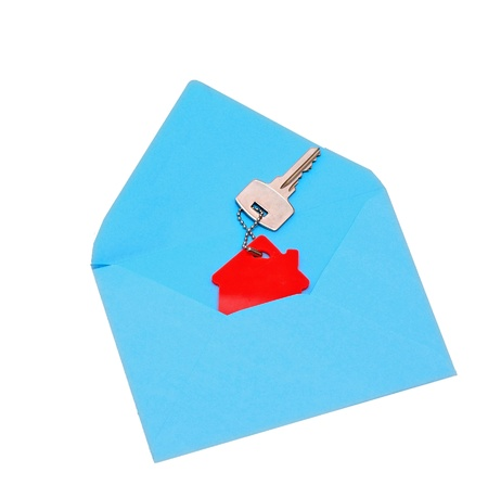 downpayment: house symbol and key in open envelope