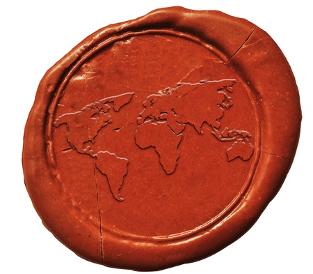 world map sign on wax seal  photo