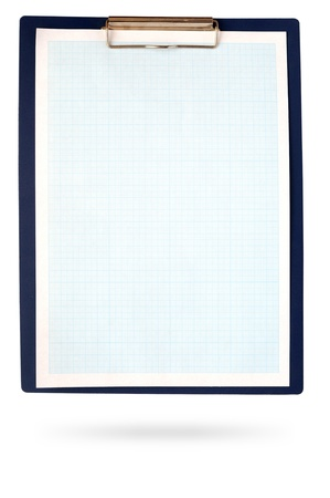 A clipboard complete with blue graph paper on white photo