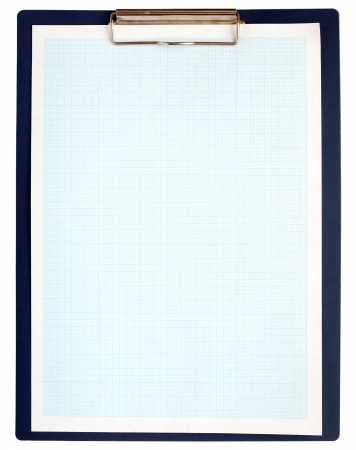 A clipboard complete with blue graph paper on white