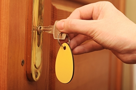 unlocked: Hand, women are unlocked door Stock Photo