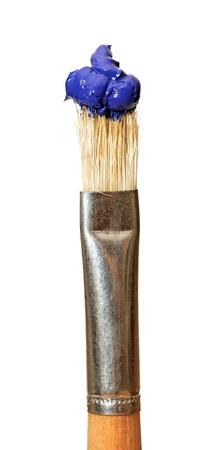 close up of paint brushes on white background Stockfoto