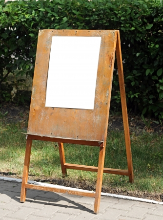 entrance arbor: Empty menu board standing on the street