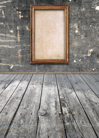 Interior of vintage room with frame on wall photo