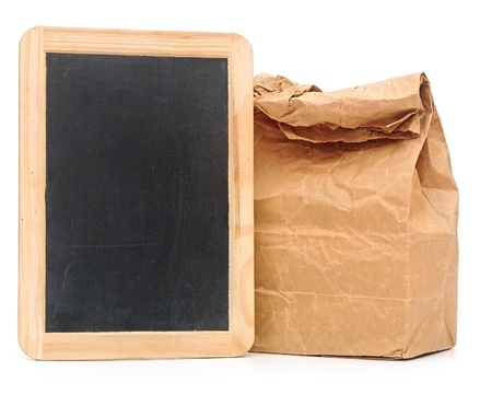 tagged: school lunch bag with blank blackboard on white Stock Photo