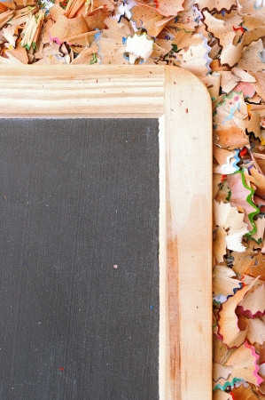 bordered: part of school boards bordered with shavings from pencils