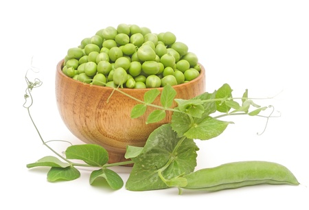 fresh pea with green leaf isolated on white background photo