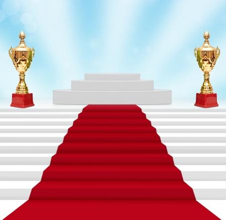 awards ceremony: cup on podium
