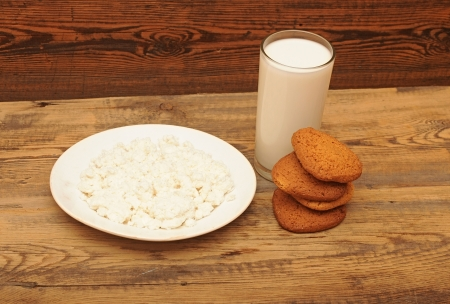 breakfast. glass milk and oatmeal cookies photo