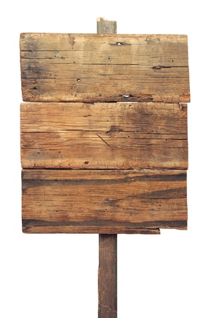 sign post: Wooden sign isolated on white. Wood old planks sign.