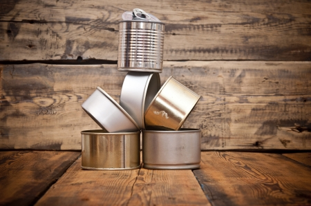 Used tin cans background photo