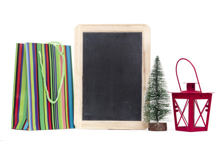 Christmas decoration with blank blackboard for your text and announcement photo