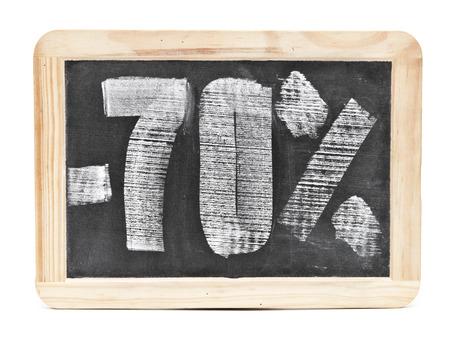 seventy: il settanta per cento di sconto scritto sulla lavagna