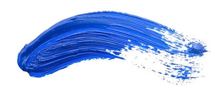 흰색에 고립 된 페인트 브러시의 파란색 선