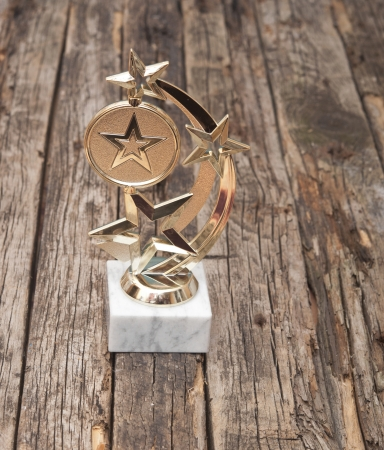 star award with space for text on old wooden table Stock Photo - 23480120