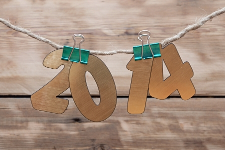 two thousand and fourteen: two thousand fourteen New Year number decoration hanging on rope