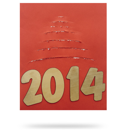 two thousand and fourteen: Torn paper christmas tree with two thousand fourteen New Year number decoration  Stock Photo