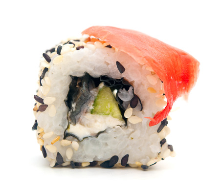 traditional fresh japanese sushi rolls on a white background  photo