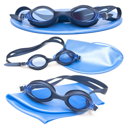 collection swimming caps and glasses photo