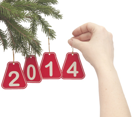 woman hand hanging a number 2014 on fir tree branch photo