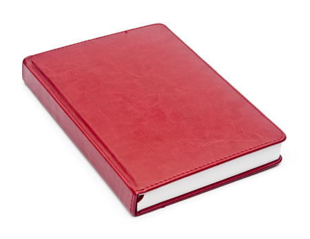 album cover: red leather notebook over white background  Stock Photo