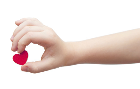 hands hold a red heart on white background photo