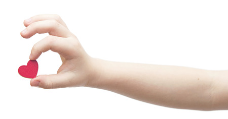 mother'sday: hands hold a red heart on white background