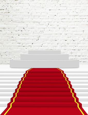 red carpet: Stairs covered with red carpet  Stock Photo