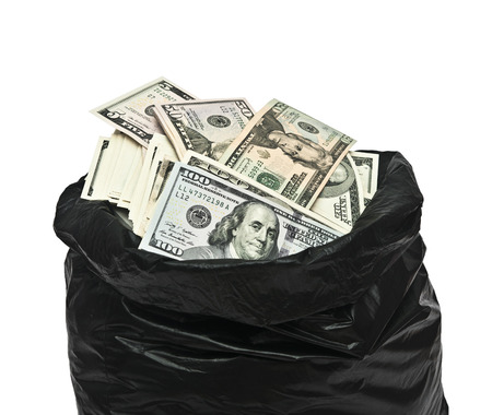 bag of money: Plastic bag full of money