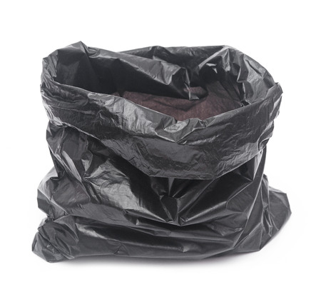 empty garbage bag on white background