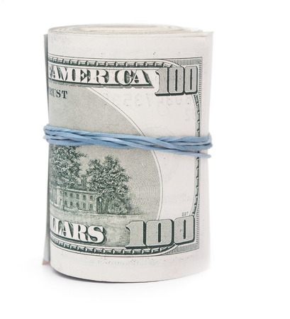rubberband: Hundred dollar bills rolled up with rubberband.