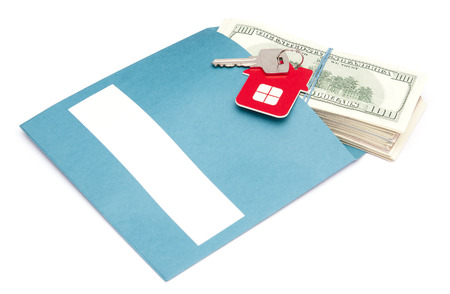 money in envelope with key  photo