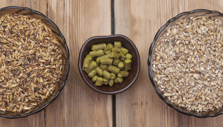 beer ingredients, hops and malt on wooden table top photo