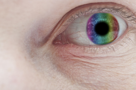 eyes contact: Beautiful colorful eye close up  Stock Photo