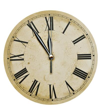 Alte Uhr isoliert auf weiß. alte Vintage Uhr-Gesicht Standard-Bild - 31761137