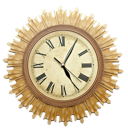 Old Clock Isolated on white . old vintage clock face