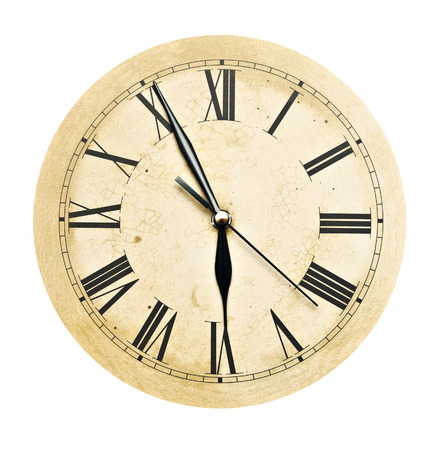 vespers: Old Clock Isolated on white . old vintage clock face