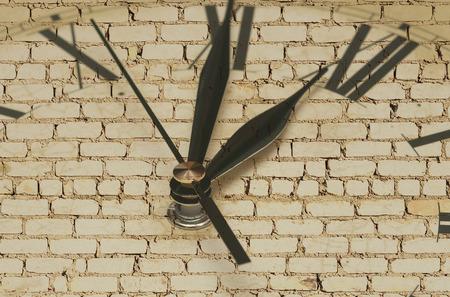 Retro clock on brick wall  photo