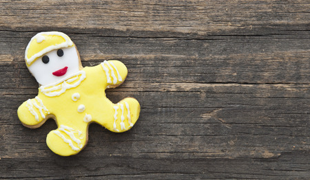 holiday cookie on rustic wooden background for the holidays photo