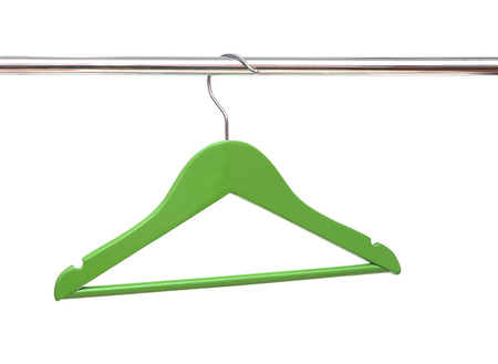 clotheshanger: Wooden coat clothes hanger isolated on a white background Stock Photo