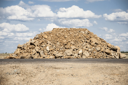 rock pile: Pile of rock for road construction