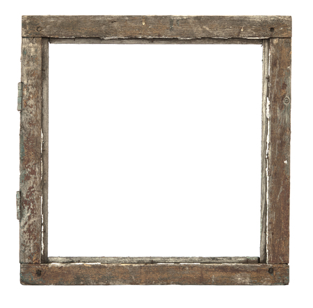 grunged: Very old grunged wooden window frame isolated in white Stock Photo