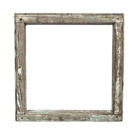 lumber room: Very old grunged wooden window frame isolated in white Stock Photo