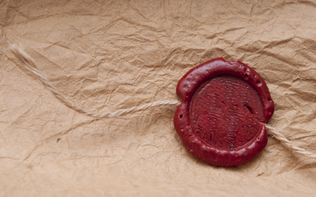 credence: Blank paper with wax seal Stock Photo