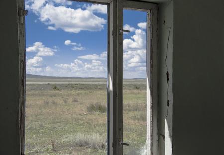 abandoned room: Abandoned room interior with broken window Stock Photo