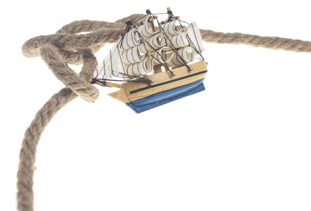 model classic boat and knot rope isolated