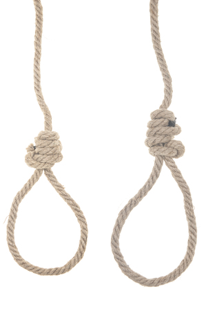 A view of a hangmans noose made of natural fiber rope isolated on white background