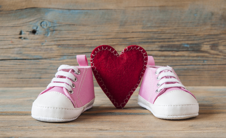 Cute little baby shoes on wood background