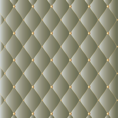 Vector leather background with golden buttons. Luxury textile design, interior and furniture decoration concept